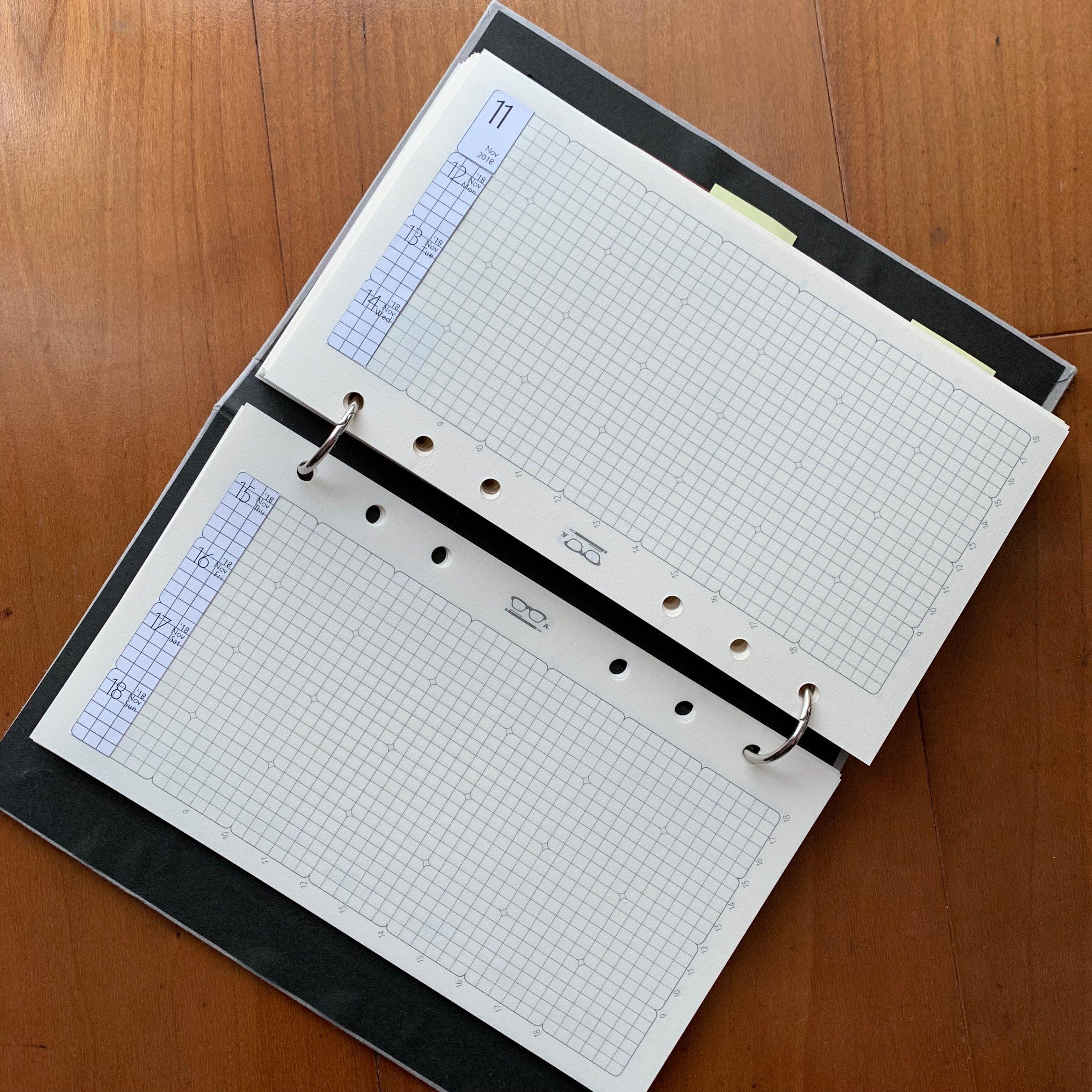 「レフト1週間」手帳をめくる方向が逆になりますが、一応ヨコ置きもOKです。